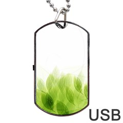 Green Leaves Pattern Dog Tag Usb Flash (two Sides)