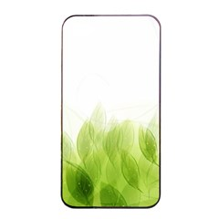 Green Leaves Pattern Apple Iphone 4/4s Seamless Case (black)
