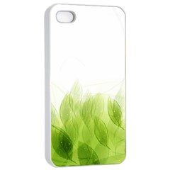 Green Leaves Pattern Apple Iphone 4/4s Seamless Case (white)