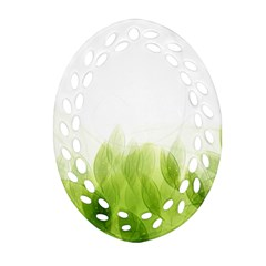 Green Leaves Pattern Oval Filigree Ornament (two Sides)