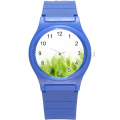 Green Leaves Pattern Round Plastic Sport Watch (s)