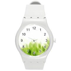 Green Leaves Pattern Round Plastic Sport Watch (m)