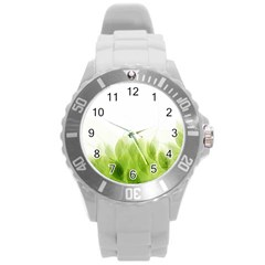 Green Leaves Pattern Round Plastic Sport Watch (l)