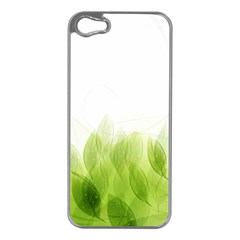 Green Leaves Pattern Apple Iphone 5 Case (silver)