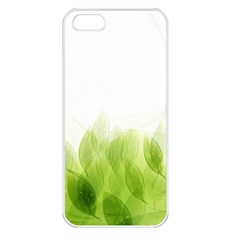 Green Leaves Pattern Apple Iphone 5 Seamless Case (white)