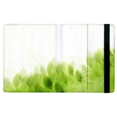 Green Leaves Pattern Apple Ipad 2 Flip Case