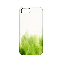 Green Leaves Pattern Apple Iphone 5 Classic Hardshell Case (pc+silicone)