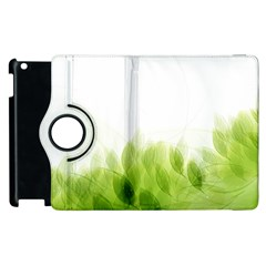Green Leaves Pattern Apple Ipad 3/4 Flip 360 Case