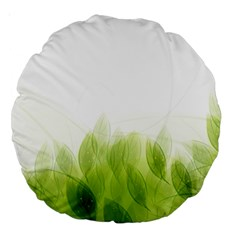 Green Leaves Pattern Large 18  Premium Round Cushions