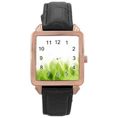 Green Leaves Pattern Rose Gold Leather Watch