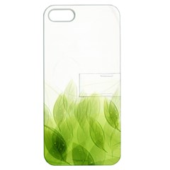 Green Leaves Pattern Apple Iphone 5 Hardshell Case With Stand