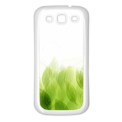 Green Leaves Pattern Samsung Galaxy S3 Back Case (white)