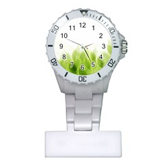 Green Leaves Pattern Plastic Nurses Watch