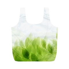 Green Leaves Pattern Full Print Recycle Bags (m)