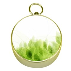 Green Leaves Pattern Gold Compasses