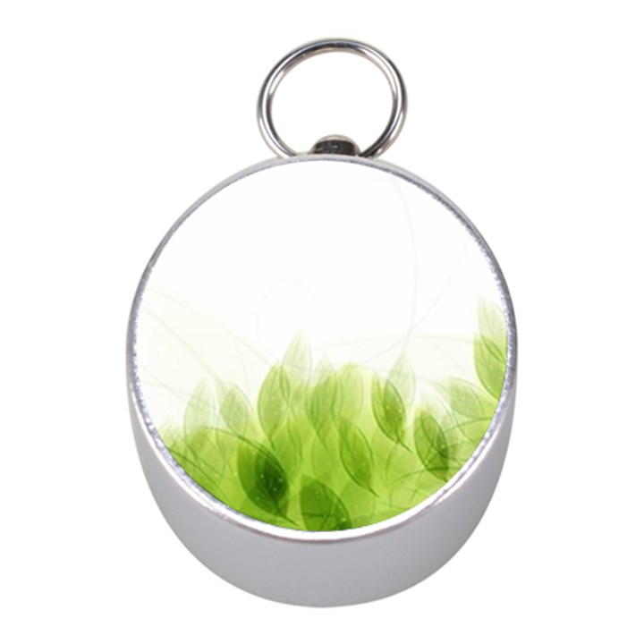 Green Leaves Pattern Mini Silver Compasses