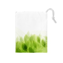 Green Leaves Pattern Drawstring Pouches (medium)