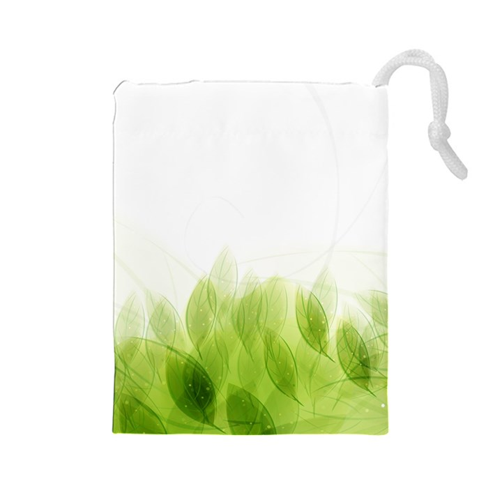 Green Leaves Pattern Drawstring Pouches (Large)