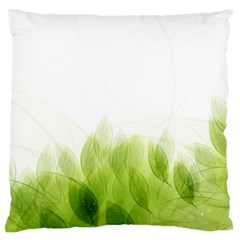 Green Leaves Pattern Large Flano Cushion Case (One Side)