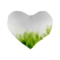 Green Leaves Pattern Standard 16  Premium Flano Heart Shape Cushions