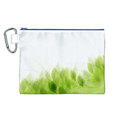 Green Leaves Pattern Canvas Cosmetic Bag (L)