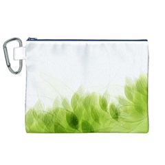 Green Leaves Pattern Canvas Cosmetic Bag (xl)