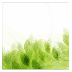 Green Leaves Pattern Large Satin Scarf (square)