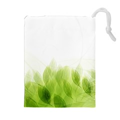 Green Leaves Pattern Drawstring Pouches (extra Large)