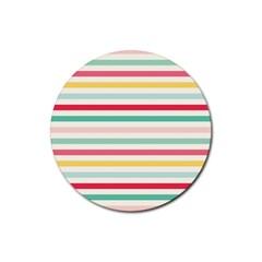 Papel De Envolver Hooray Circus Stripe Red Pink Dot Rubber Coaster (round)