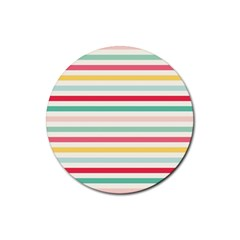 Papel De Envolver Hooray Circus Stripe Red Pink Dot Rubber Round Coaster (4 Pack)