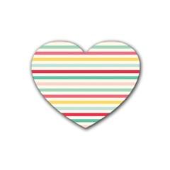 Papel De Envolver Hooray Circus Stripe Red Pink Dot Rubber Coaster (heart)