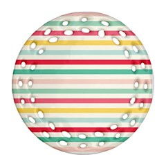 Papel De Envolver Hooray Circus Stripe Red Pink Dot Round Filigree Ornament (two Sides)