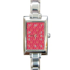 Damask Background Gold Rectangle Italian Charm Watch