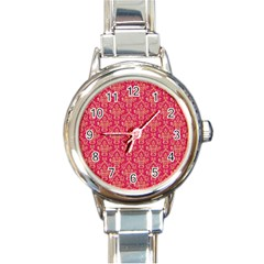 Damask Background Gold Round Italian Charm Watch