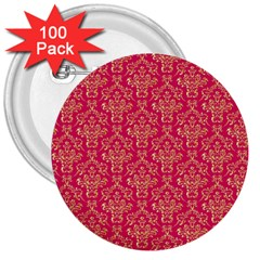 Damask Background Gold 3  Buttons (100 Pack)