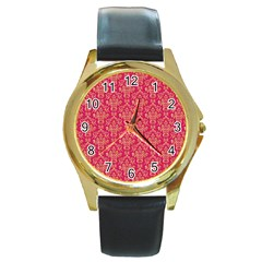 Damask Background Gold Round Gold Metal Watch