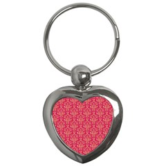 Damask Background Gold Key Chains (heart)