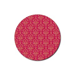 Damask Background Gold Rubber Round Coaster (4 Pack)