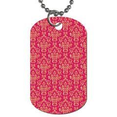 Damask Background Gold Dog Tag (two Sides)