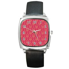 Damask Background Gold Square Metal Watch