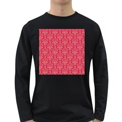Damask Background Gold Long Sleeve Dark T Shirts