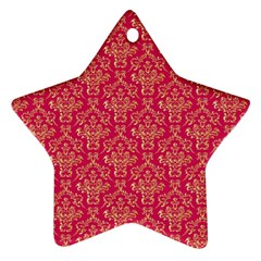 Damask Background Gold Star Ornament (two Sides)