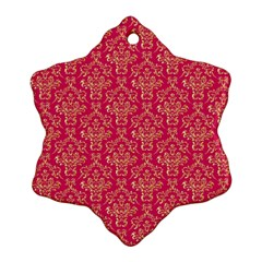 Damask Background Gold Snowflake Ornament (two Sides)