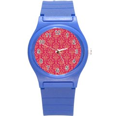 Damask Background Gold Round Plastic Sport Watch (s)