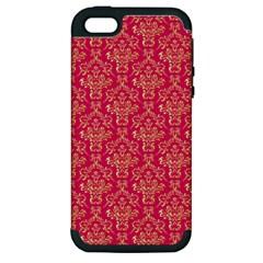 Damask Background Gold Apple Iphone 5 Hardshell Case (pc+silicone)