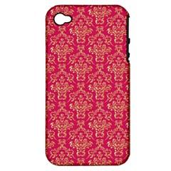 Damask Background Gold Apple Iphone 4/4s Hardshell Case (pc+silicone)