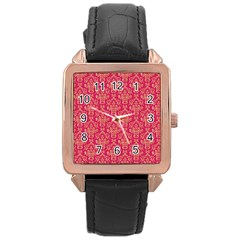 Damask Background Gold Rose Gold Leather Watch