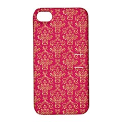 Damask Background Gold Apple Iphone 4/4s Hardshell Case With Stand