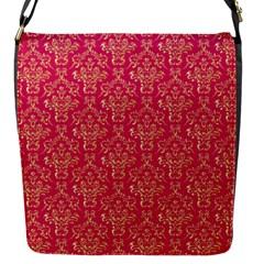 Damask Background Gold Flap Messenger Bag (s)