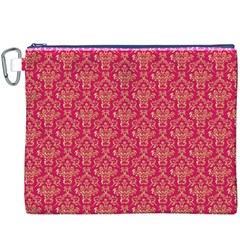 Damask Background Gold Canvas Cosmetic Bag (xxxl)